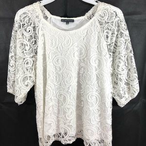 Adrianna Papell Womens Ivory Lace Blouse Top Sz M
